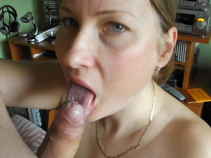 Blonde wife perfect blowjob