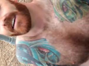 Bearded man cum
