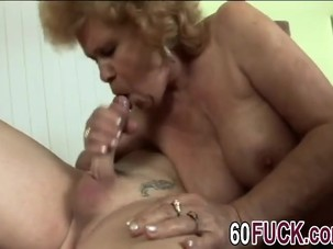 Big boobed granny rides big..