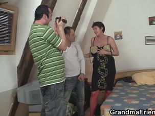Old grandma in red lingerie..
