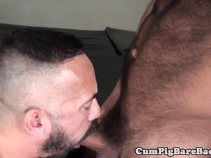 Raw fucked nipple pierced bear..
