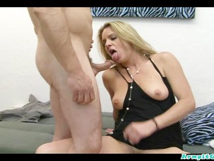 sweaty blonde milf fucking with..