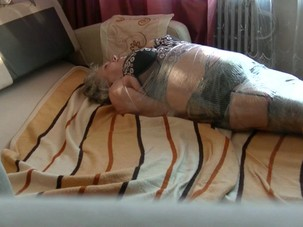 Mature wrapped and tickled