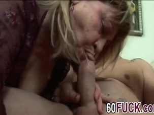 Fat granny is fucked by young man