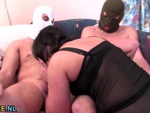 Kinky matures gangbanged