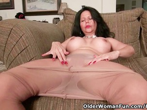 Busty milf April White peels..